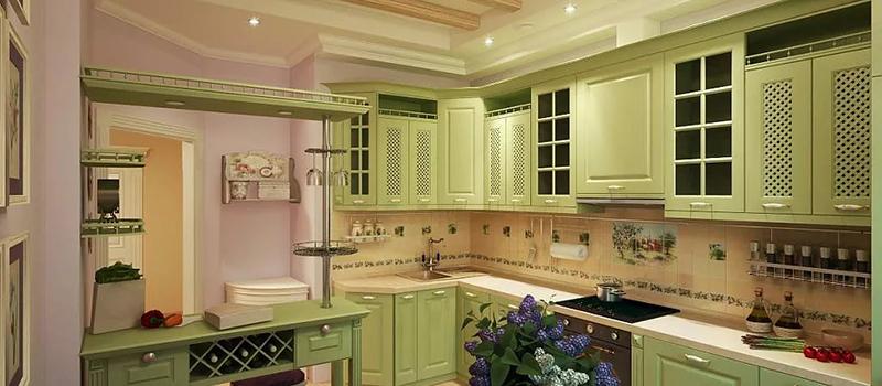 В кухнях в прованском стиле широко используется отделка плиткой